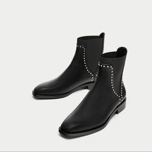 Zara Flat ankle black leather boots w silver studs